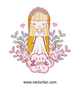girl with weading dress and branches leaves