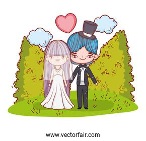 girl and boy marriage with clouds and bushes