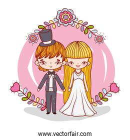 girl and boy marriage with flowers and branches leaves