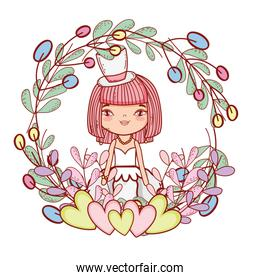 girl with weading dress and hearts and branches leaves