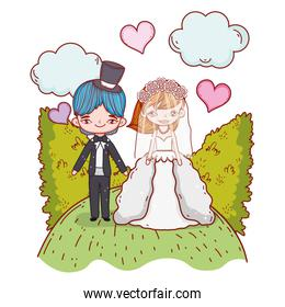 girl and boy couple marriage with bushes and hearts