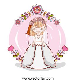 girl with weading dress and flowers branches leaves