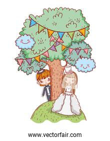 girl and boy marriage with trees and party flags