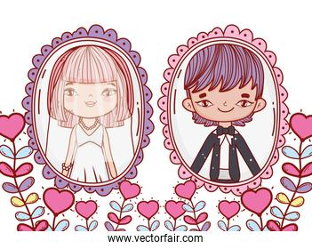 girl and boy marriage pictures with heart plants