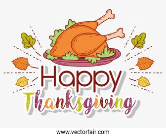 turkey food and autumn leaves to thanksgiving celebration