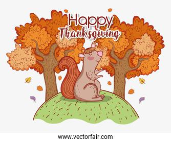 squirrel animal with autumn trees leaves