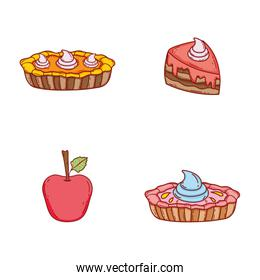 set weet cakes with cream and apple
