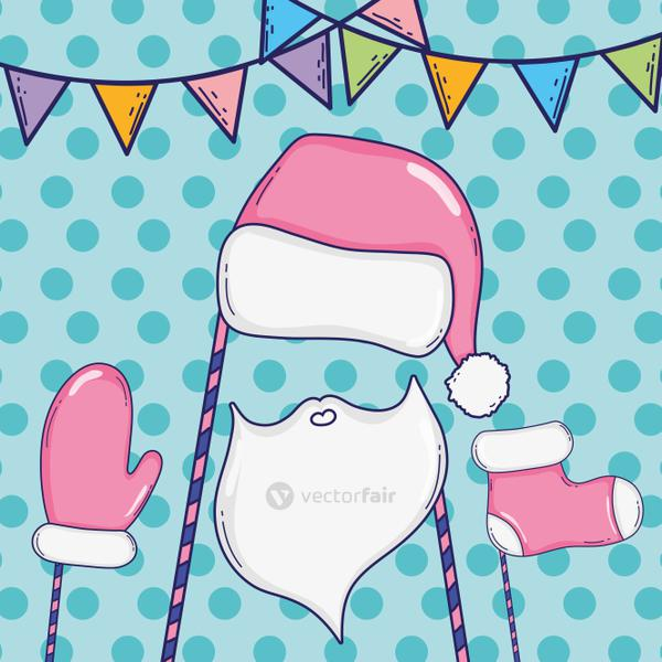 santa claus hat with bear and glove costume