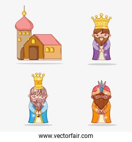 set magicians kings wearing crown and house
