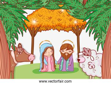 joseph and mary in the manger with cow and sheep