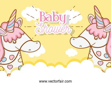 cute unicorns in the clouds to baby shower decoration