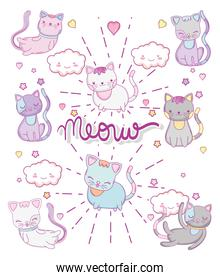 cute cats with kawaii clouds and herts