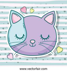 cat head pet animal with hearts