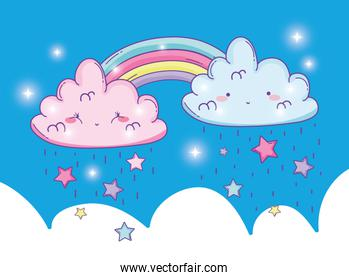 cute rainbow with fluffy clouds and stars