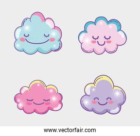 set happy fluffy clouds expression