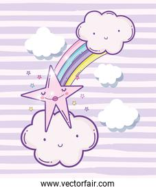 cute fluffy clouds with rainbow and beauty star