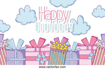 happy birthday with presents and clouds decoration