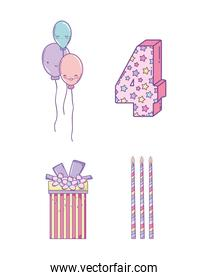 set birthday decoration with balloons and candles