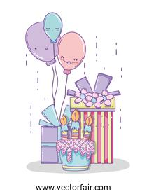 birthday decoration with presents and character balloons