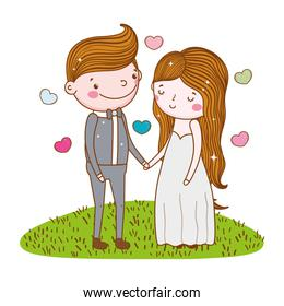 happy woman and man marriage with hearts