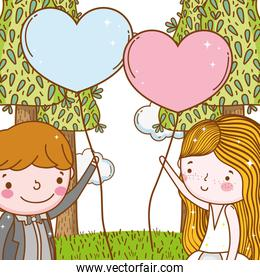 man and woman with hearts balloons and trees