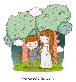 man and woman wedding with clouds and trees