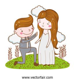man and woman wedding with plants leaves and clouds