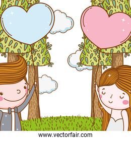 man and woman wedding with hearts balloons