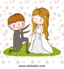 man and woman wedding over leaves and flowers background