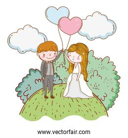man and woman with hearts balloons and clouds