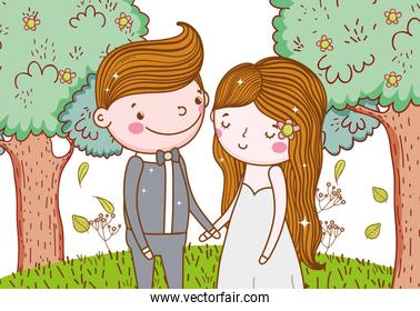 man and woman with trees flowers and leaves