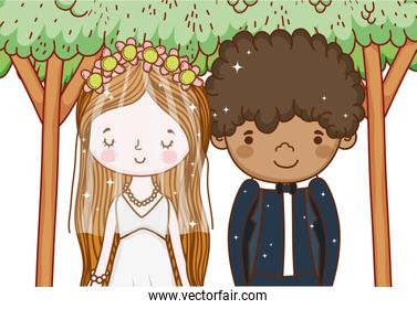 man and woman marriage ceremony with trees