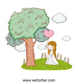 woman wedding with gown and heart balloon