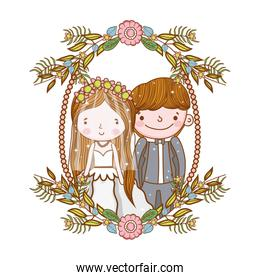 man and woman wedding in the frame with flowers plants