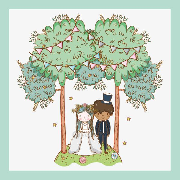 woman and man wedding with party flags and trees
