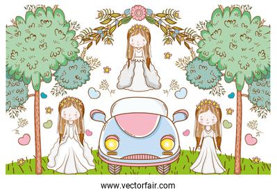 wedding women with car and flowers plants leaves