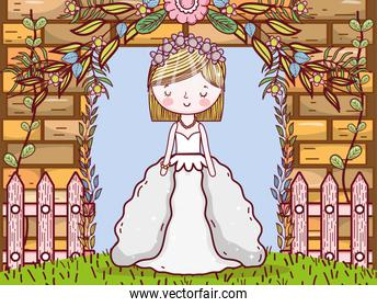 woman wedding with gown and brick wall