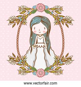 woman wedding with frame flowers plants leaves