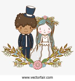 man and woman wedding with flowers plants leaves