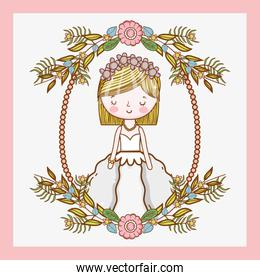 wedding woman with frame flowers plants leaves