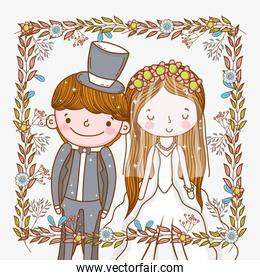 man and woman wedding frame with plants leaves