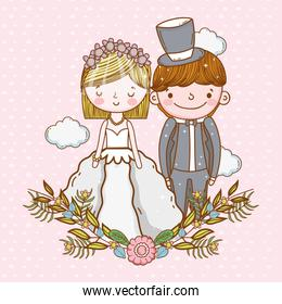 woman and man wedding with clouds and plants leaves