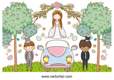 woman and men with car and flowers plants