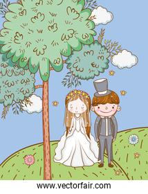 woman and man wedding with clouds in the mountains