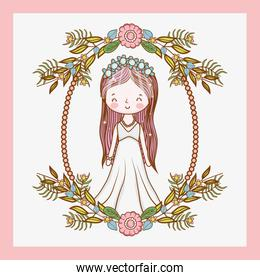 woman wedding with frame and plants leaves
