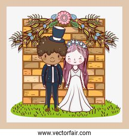 woman and man with flowers plants leaves