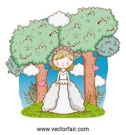 happy woman wedding with gown and trees