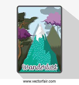 wanderlust ice mountains with trees landscape