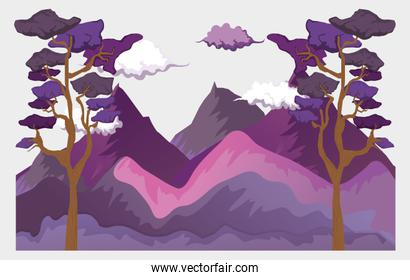 clouds with mountains and trees nature landscape
