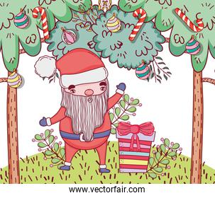 santa claus with present and pine trees